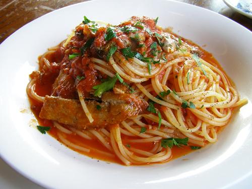 さんまのトマトソーススパゲティ
