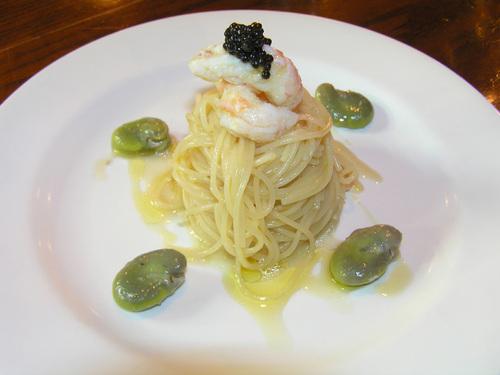 特注:空豆と手長エビの冷製カッペリーニ